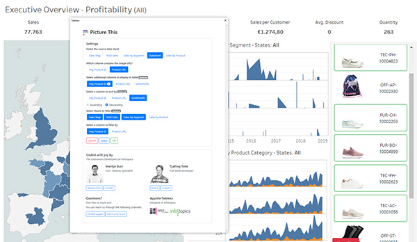 PictureThis Tableau Dashboard Extension to create dynamic imagetable to use as filter in your dashboards
