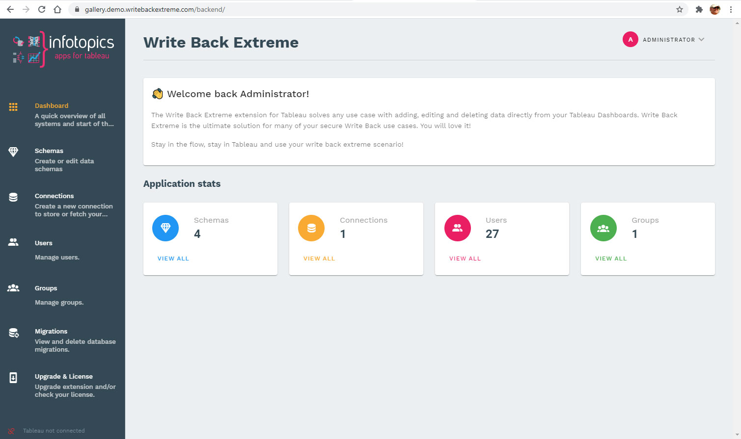 Management Console of the Write Back Extreme extension for Tableau
